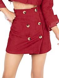 baratos -algodão feminino assimétrico saias de uma linha - cintura alta de cor sólida