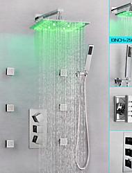 Недорогие -Смеситель для душа / Ванная раковина кран - Современный Хром На стену Медный клапан Bath Shower Mixer Taps / Латунь