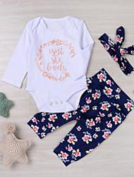 abordables -bébé Fille Actif / Chic de Rue Quotidien / Vacances Fleur Imprimé Manches Longues Normal Normal Coton Ensemble de Vêtements Bleu / Bébé
