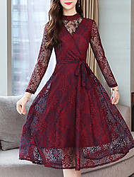 Недорогие -женская тонкая линия платье высокая талия midi