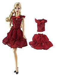 Недорогие -Юбки и платья / Топы Юбки / Топ 2 pcs Для Кукла Барби Темно-красный Нетканое полотно / Ткань Демин Кофты / Юбки Для Девичий игрушки куклы