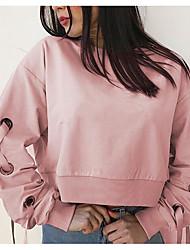 baratos -camisola de mangas compridas para senhora - gola redonda de cor sólida
