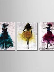 Недорогие -С картинкой Отпечатки на холсте - Абстракция Люди Modern 3 панели Репродукции