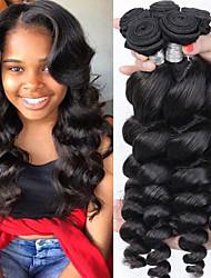 Недорогие -3 Связки Перуанские волосы Свободные волны Натуральные волосы / Необработанные натуральные волосы Человека ткет Волосы / Пучок волос / One Pack Solution 8-28 дюймовый Естественный цвет