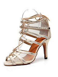 Недорогие -Жен. Обувь для латины Полиуретан Сандалии Блеск Тонкий высокий каблук Персонализируемая Танцевальная обувь Черный и золотой / Телесный / Выступление / Тренировочные