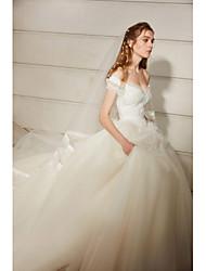 billige -Prinsesse Skulderfri Kapelslæb Blondelukning / Tyl Made-To-Measure Brudekjoler med Blonde ved