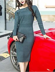 Недорогие -женщины выходят тощий свитер / оболочка платье midi экипаж шеи
