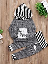 abordables -bébé Garçon Décontracté / Actif Quotidien / Vacances Rayé / Imprimé Imprimé Manches Longues Normal Normal Coton Ensemble de Vêtements Gris / Bébé