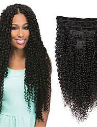 Недорогие -Клип во / на Расширения человеческих волос Прямой Нейтральный Черный Накладки из натуральных волос Натуральные волосы Бразильские волосы 7 шт Новое поступление Для темнокожих женщин Жен. - Черный
