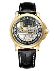 Недорогие -Муж. Механические часы С автоподзаводом Защита от влаги С гравировкой Творчество Нержавеющая сталь Группа Аналоговый На каждый день Мода Черный / Коричневый - Brown / Gold