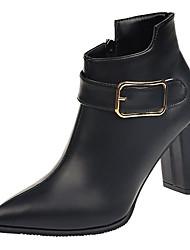 Недорогие -Жен. Fashion Boots Полиуретан Осень Минимализм Ботинки На толстом каблуке Заостренный носок Ботинки Черный / Оранжевый / Зеленый