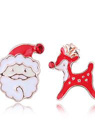 halpa -Naisten ristiriitaiset Niittikorvakorut - Joulupukki-asu, Hirvi Eurooppalainen, Muoti, söpö tyyli Punainen Käyttötarkoitus Joulu Päivittäin
