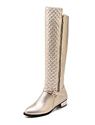 Недорогие -Жен. Fashion Boots Полиуретан Зима Ботинки На низком каблуке Сапоги до колена Золотой / Черный / Серебряный