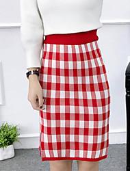 olcso -női kimetszett midi ceruza szoknyák - színes blokk