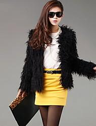 cheap -Women's Daily Basic Fall & Winter Short Fur Coat, Solid Colored Round Neck Long Sleeve Faux Fur Black XL / XXL / XXXL