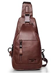 Недорогие -мужские сумки наппа кожаный ремешок на плечо молния желтый / коричневый