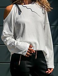 Недорогие -Жен. Повседневные Активный С открытыми плечами Однотонный Длинный рукав Обычный Пуловер, Круглый вырез Белый / Черный / Желтый M / L / XL