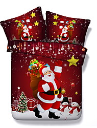 Недорогие -наборы для одеяла для рождественских одеял 3d полиэстер / полиамид реактивная печать 3 шт.