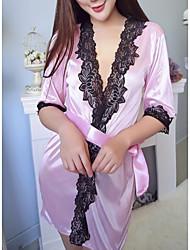 Недорогие -Жен. Сексуальные платья Костюм Ночное белье - Кружева Однотонный / Контрастных цветов / Глубокий V-образный вырез