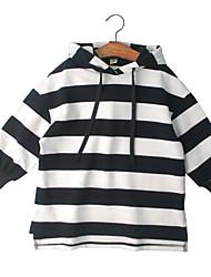 お買い得  -子供 女の子 ストライプ 長袖 フーディーズ&スウェットシャツ