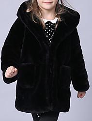 Недорогие -Дети / Дети (1-4 лет) Девочки Классический Однотонный Длинный рукав Хлопок / Полиэстер Костюм / блейзер Черный 90