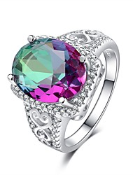 cheap -Women's Fuchsia Cubic Zirconia Retro Band Ring - S925 Sterling Silver Flower Classic, Vintage, Elegant Jewelry Purple For Wedding Engagement Ceremony 6 / 7 / 8 / 9 / 10