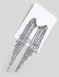 billige -Dame Kvast Krystaløreringe - Mode Sølv Til Bryllup Fest