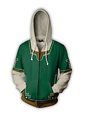 billiga -Inspirerad av The Legend of Zelda Länk Animé Cosplay-kostymer cosplay Pull Lappverk / Tecknat Huvtröja Till Unisex