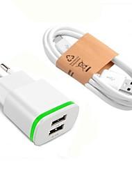 Недорогие -Портативное зарядное устройство Зарядное устройство USB Евро стандарт с кабелем / Несколько разъемов 2 USB порта 2.1 A DC 5V для S9 / S7 / S6