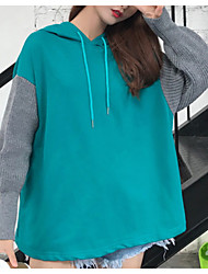 cheap -women's going out long sleeve cotton loose hoodie - solid colored hooded