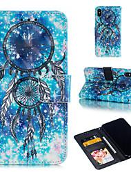 Недорогие -Кейс для Назначение Apple iPhone XS / iPhone XR / iPhone XS Max Кошелек / Бумажник для карт / со стендом Чехол Ловец снов / Цветы Твердый Кожа PU