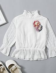 abordables -bébé Fille Basique / Chic de Rue Quotidien / Sortie Fleur Dentelle Manches Longues Longue Coton / Spandex Chemisier Blanc
