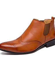 abordables -Homme Fashion Boots Faux Cuir Automne hiver Décontracté Bottes Augmenter la hauteur Bottine / Demi Botte Bloc de Couleur Noir / Marron