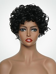 economico -Parrucche senza cappuccio per capelli umani Cappelli veri Riccio Breve Bob / Short Hairstyles 2019 Stile Attaccatura dei capelli naturale Nero Corto Senza tappo Parrucca Per donna