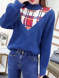 Недорогие -Жен. Повседневные Контрастных цветов Длинный рукав Обычный Пуловер Кроличий мех Синий / Белый Один размер