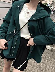 baratos -jaqueta saindo de mulher - com capuz colorido sólido