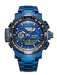 Недорогие -Муж. Спортивные часы электронные часы Японский Японский кварц Нержавеющая сталь Серебристый металл / Небесно-голубой 30 m Защита от влаги Календарь Фосфоресцирующий Аналого-цифровые Мода -