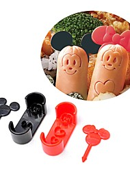 cheap -Cartoon Mouse Sausage Cutter Mold with Picks Lunch Bento Maker