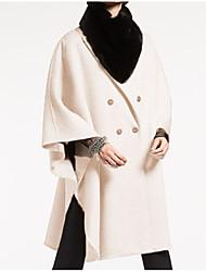 Недорогие -Жен. Повседневные Классический Длинная Пальто, Однотонный Отложной Длинный рукав Полиэстер Розовый S / M / L