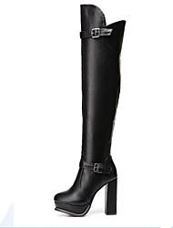 Недорогие -Жен. Полиуретан Наступила зима Ботинки На толстом каблуке Круглый носок Сапоги выше колена Черный / Для вечеринки / ужина