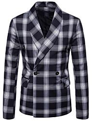 저렴한 -남성용 일상 가을 보통 블레이져, Houndstooth 셔츠 카라 긴 소매 폴리에스테르 클로버 / 루비 / 네이비 블루 XXL / XXXL / XXXXL