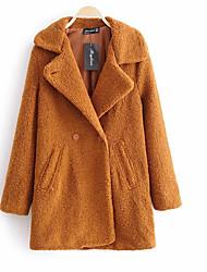 Недорогие -Жен. Повседневные Длинная Пальто, Однотонный Приподнятый круглый Длинный рукав Полиэстер Оранжевый S / M / L / Тонкие
