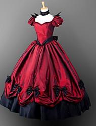 billiga -Gotiskt Victoriansk Kostym Gotisk Lolita Dam Flickor Klänningar Festklädsel Maskerad Röd Vintage Cosplay Satin Kort ärm Ballong Golvlång Balklänning Plusstorlekar Anpassad