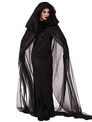 Недорогие -ведьма Косплэй Kостюмы Костюм для вечеринки Жен. Хэллоуин Фестиваль / праздник Инвентарь Черный Однотонный Кружева