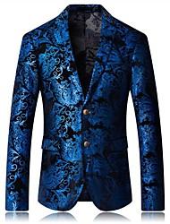 저렴한 -남성용 일상 봄 / 가을 플러스 사이즈 보통 블레이져, 체크 셔츠 카라 긴 소매 면 / 폴리에스테르 푸른 54 / 56 / 58