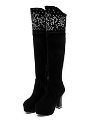 billiga -sw 5050 kvinnors satinfjäder stövlar chunky heel closed toe knee high boots black