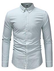 저렴한 -남성용 줄무늬 플러스 사이즈 셔츠, 사업 작동 면 / 긴 소매 / 가을