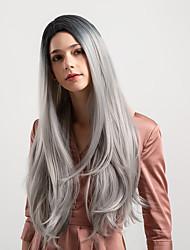Недорогие -Парики из искусственных волос Естественный прямой Темно-серый Боковая часть Черный / серый Искусственные волосы 26 дюймовый Жен. Новое поступление / Волосы с окрашиванием омбре / Природные волосы