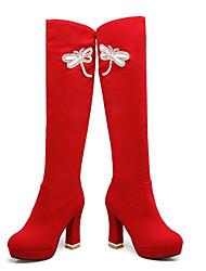Недорогие -Жен. Замша / Микроволокно Осень Ботинки На толстом каблуке Закрытый мыс Сапоги до колена Черный / Красный