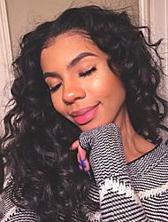 Недорогие -человеческие волосы Remy Полностью ленточные Лента спереди Парик Ассиметричная стрижка Kardashian стиль Бразильские волосы Естественные кудри Свободные волны Черный Парик 150% Плотность волос